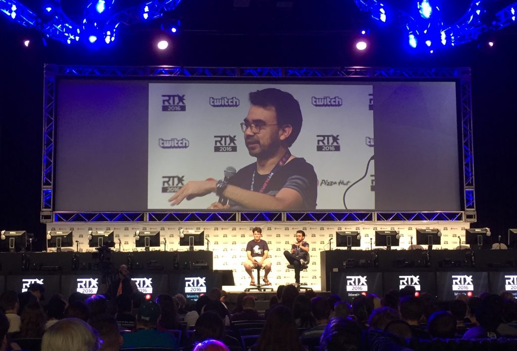 Gus from RoosterTeeth talking with Palmer Luckey about VR at RTX in Austin